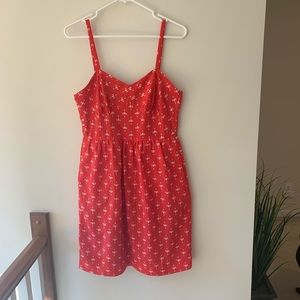 J crew red orange sun dress size 6